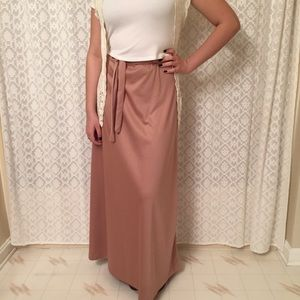 Vintage Maxi A-line Skirt with Fabric Tie Belt